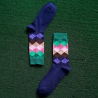 Gradient Color Men's Mens Colorful Long Casual Rhombus Cotton Socks Happy