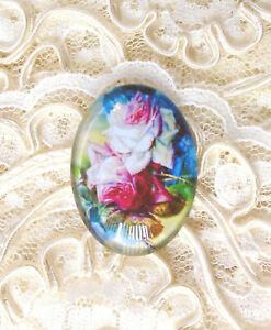 30X40mm Beautiful Roses NO GlittKidser Unset Handmade Glass Art Bubble Cameo Cab