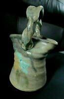 Hand Crafted Glazed Clay Pottery, Basket Shaped Vase With Twisted Handle