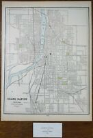 "Vintage 1900 GRAND RAPIDS MICHIGAN  Map 11""x14"" Old Antique Original GRANDVILLE"