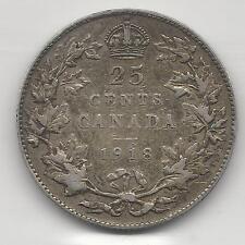 CANADA,  1918,  25 CENTS,  SILVER,  KM#24,  VERY FINE+