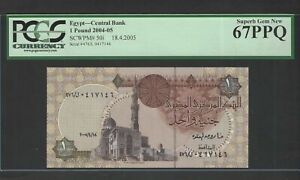 Egypt One Pound 18-4-2005 P50i Uncirculated Graded 67