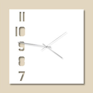 """30cm x 30cm """"7-11"""" White modern acrylic wall clock with metal hands"""