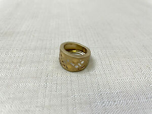 "14K Yellow Gold Pierced Band Ring Size 5 3.0g Italy Matte Finish ""EG"" EternaGold"