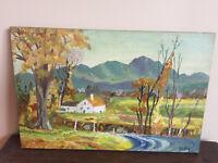 tableau ancien huile sur panneau CLICQ (XIXe-s) paysage