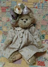 Bearington bear Purple Flower hat And Purple Floral Dress