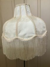 "Victorian Lampshade Creme Floral Brocade Satin Fringe Bell Shape 15"" dia Ivory"