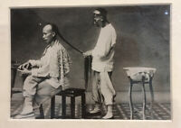 Vintage Photograph Chinese Man Braiding Another Mans Hair Que Repro 1911