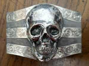 James Reid Sterling Silver .925 Skull Belt Buckle with Patterned Engraving Rare
