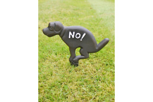 Dog Fouling Cast Iron Sign of Dog with text saying No! No fouling sign (pooping)