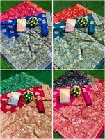 Designer Weaving Jacquard Silk Saree Blouse Pallu Sari Indian Clothing Women