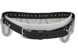 Women / Men Punk Rock Biker Fashion Belt Black Leather Silver Metal Ring Size 34