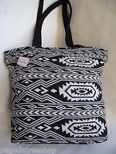 New Black & White Ethnic Aztec Mexican Style Tapestry Tote Shopper Handbag