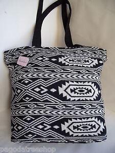 New Black & White Ethnic Aztec Mexican Style Tapestry Tote Shopper Handbag