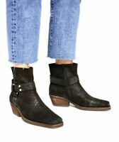 Jeffrey Campbell Free People Boot NWOB Black Suede Embossed Harness Ankle 9.5M