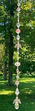 CRYSTAL GUARDIAN ANGEL SUNCATCHER-PINK/CLEAR-REAR MIRROR-10.5-HANDCRAFTED- # 946