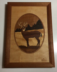 """Hudson River Inlay Wooden Marquetry """"Deer"""" Plaque By Jeff Nelson"""