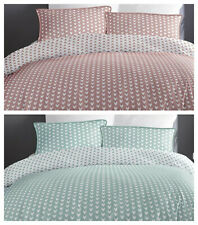 100% Cotton Geometric Chevrons Duvet Quilt Cover Bedding Set - Pink OR Duck Egg