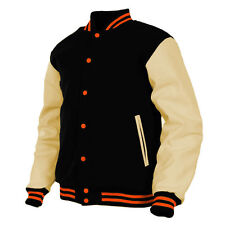 Winter Jacket in Genuine Leather&Wool Varsity Letterman Collage Basebal Jacket