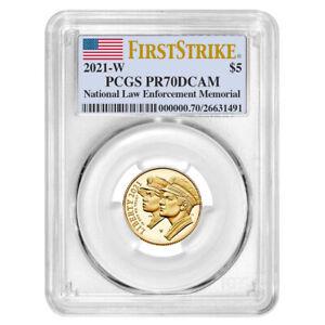 2021-W Proof $5 Gold National Law Enforcement PCGS PR70DCAM FS Flag Label