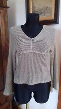 ZUZA BART ligth brown loose knit linen asymmetric Lagenlook tunic top M