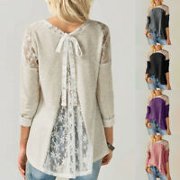 ZANZEA Women Long Sleeve Lace Patchwork Tops Loose Ladies Plain Shirts Blouses