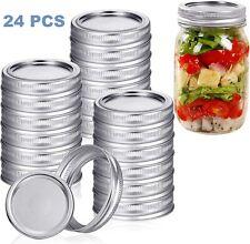 24 Pcs Canning Jar Lids and Bands for Regular Mouth Mason Jars Split-Type Lids