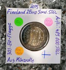 1 x Finnland 2015  2 Euro Sondermünze 30Jahr EU Flagge  Aus Münzrolle