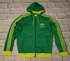 adidas jacket track zip rasta hoodie hooded green yellow firebird  size XL
