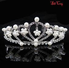 Wedding Bridal Crystal Pearl Flower Crown Comb Tiara Hair Band Headband S8C14