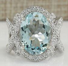 8.95 Carat Natural Aquamarine 14K White Gold Diamond Ring