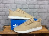 ADIDAS MENS UK 12 EU 47 1/3 BROWN WHITE NUBUCK TUBULAR SHADOW TRAINERS