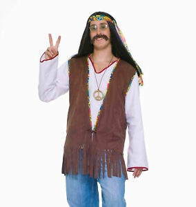 Brown Hippie Male Mens Hippie Vest Adult 60s Costume Accessory NEW One Size