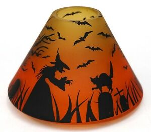 New Yankee Candle Halloween Witch Bats & Cat In Graveyard Orange Large Jar Shade