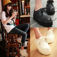 Women Lace Up High Platform Flats Retro Goth Punk Creepers Loafers Shoes Magic