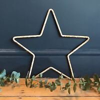 39cm Rusty White Metal Star Outline Iron Garden Hanging Mantle Xmas Decoration