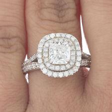 GIA Certified Diamond Engagement Ring 18k White Gold 2.17 carat Cushion Cut