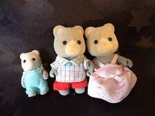 Rare 1985 Sylvanian Families Grey Bears x 3 Figures