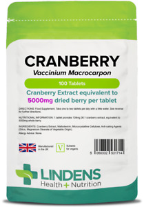 Cranberry 5000mg 100 Tablets Cystitis Urinary Bladder Health Lindens