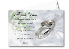30 Personalised Wedding Day , Wedding Evening Thank You , Thankyou Cards Ref W10