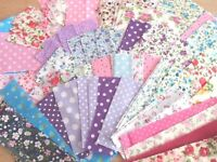 Fabric Remnant Pieces Patchwork Card Making Scrap booking Bundle 100 Pieces!