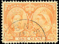 1897 Used Canada 1c VF Scott #51 Diamond Jubilee Stamp