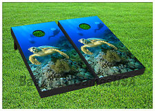 CORNHOLE BOARD Set BEANBAG TOSS GAME w Bags Ocean Sea Turtle Reef Coral S01436
