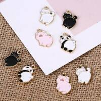 10Pcs Craft Cute Enamel Alloy Pig Cat Panda Charms Pendants DIY Jewelry Findings