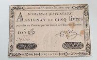 Assignat 5 livres 30 avril 1792