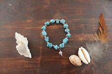 Beautiful Handmade Turquoise Chunk Bead & Silver Bead Stretch Beaded Bracelet