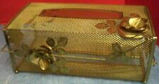 Vintage Gold Color Metal Mesh Tissue Box Cover Hollywood Regency Flowers Leaves