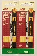 "ACE 2035434 4"" 10 TPI Jigsaw Blade Bi-Metal U Shank Wood Cutting Set of 2"