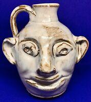 Vintage, Face Jug, Bolick Pottery, Cream Glazed Clay, Signed I. O. Bolick
