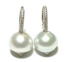 Superb 12.8mm Natural SIlver Blue Indonesia South Sea Round Pearl Clip Earrings
